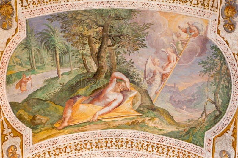 """Escalera del ` s de Roma - de Jacob de Antonio Viviani 1560†""""1620 Fresco de la cámara acorazada de escaleras en los di San Lore foto de archivo"""