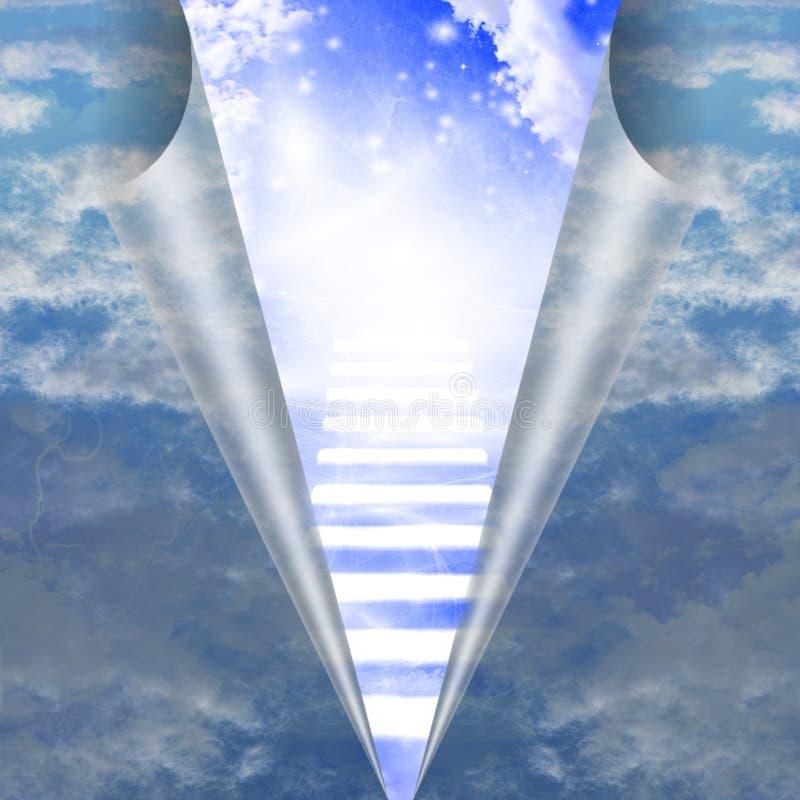 Escalera en el cielo revelador stock de ilustración