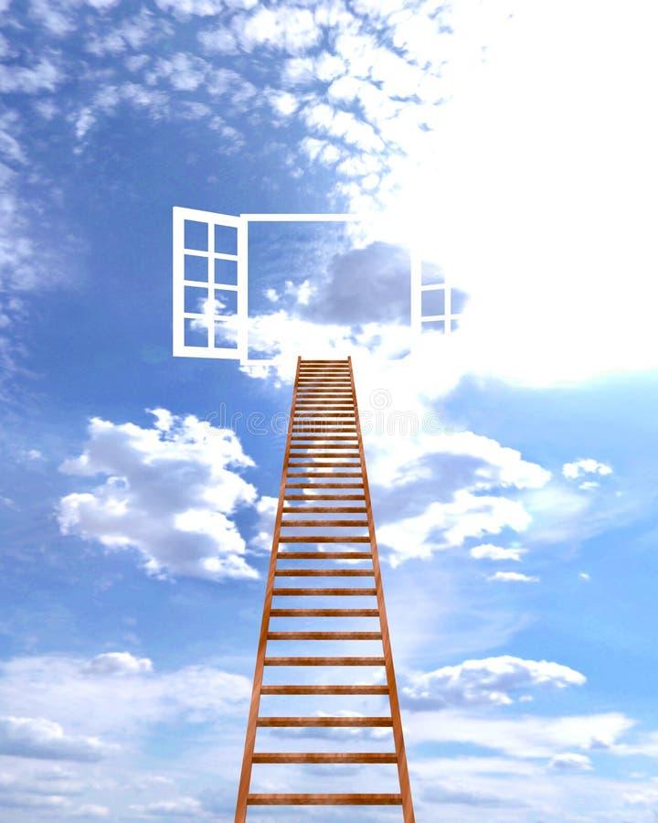 Escalera en la ventana para el cielo del cielo libre illustration
