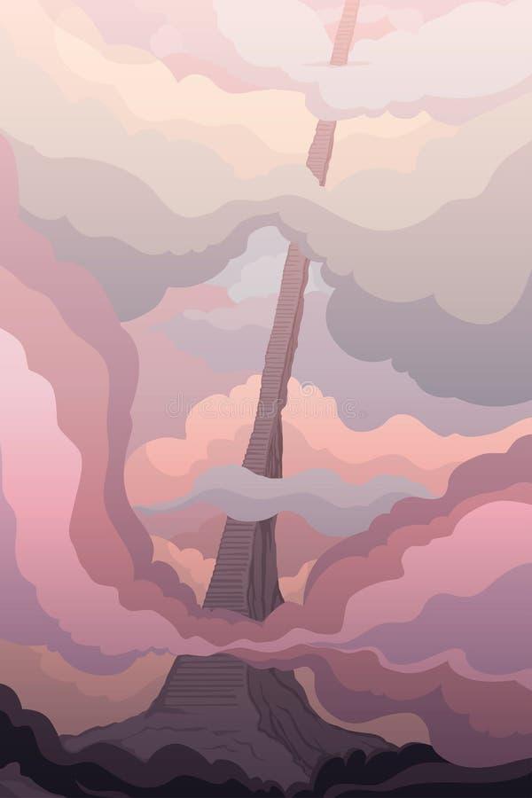Escalera en las nubes Fantástico paisaje con surrealista camino al cielo stock de ilustración