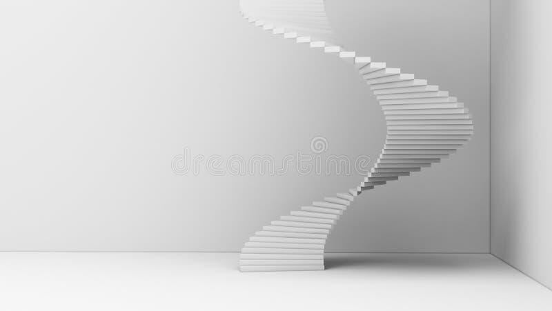 Escalera espiral aislada en el fondo blanco en archite mínimo stock de ilustración