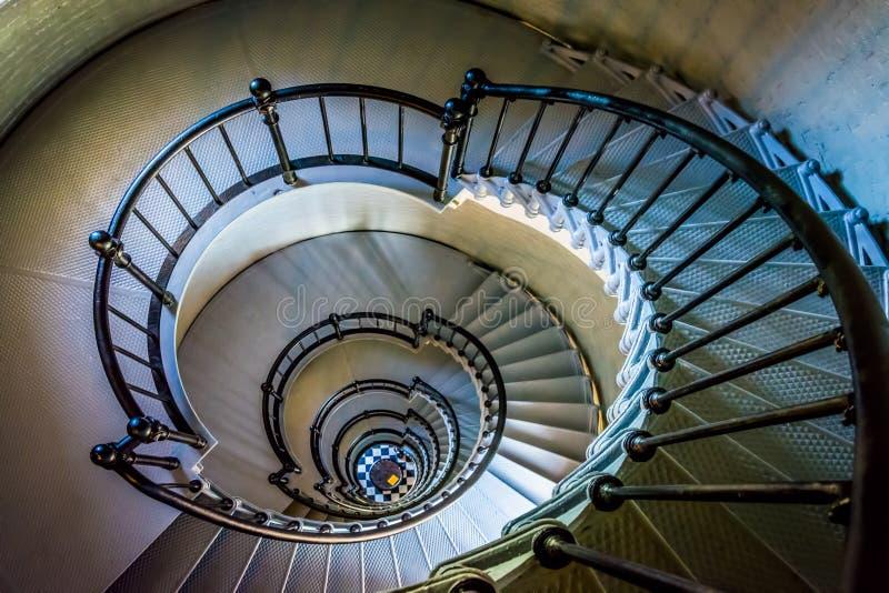 Escalera espiral en el Ponce de Leon Inlet Lighthouse, la Florida foto de archivo libre de regalías