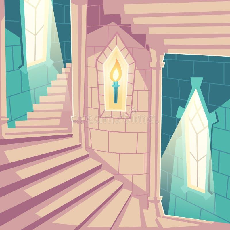 Escalera espiral en escaleras ascendentes del castillo en palacio stock de ilustración