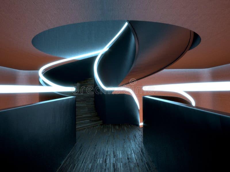 Escalera espiral moderna (noche) stock de ilustración