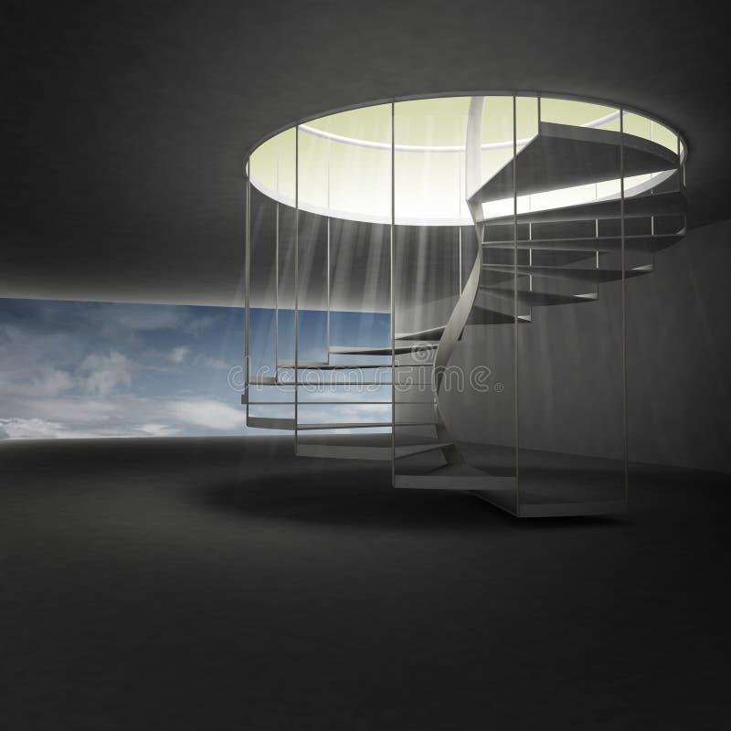 Escalera espiral que lleva al cielo sobre las nubes stock de ilustración