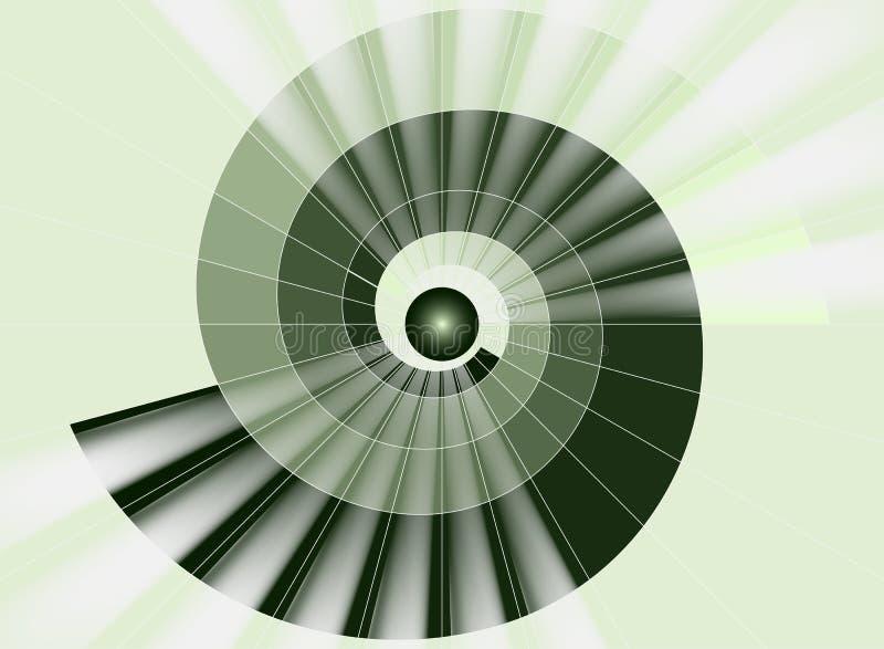 Escalera espiral, túnel verde a la luz ilustración del vector