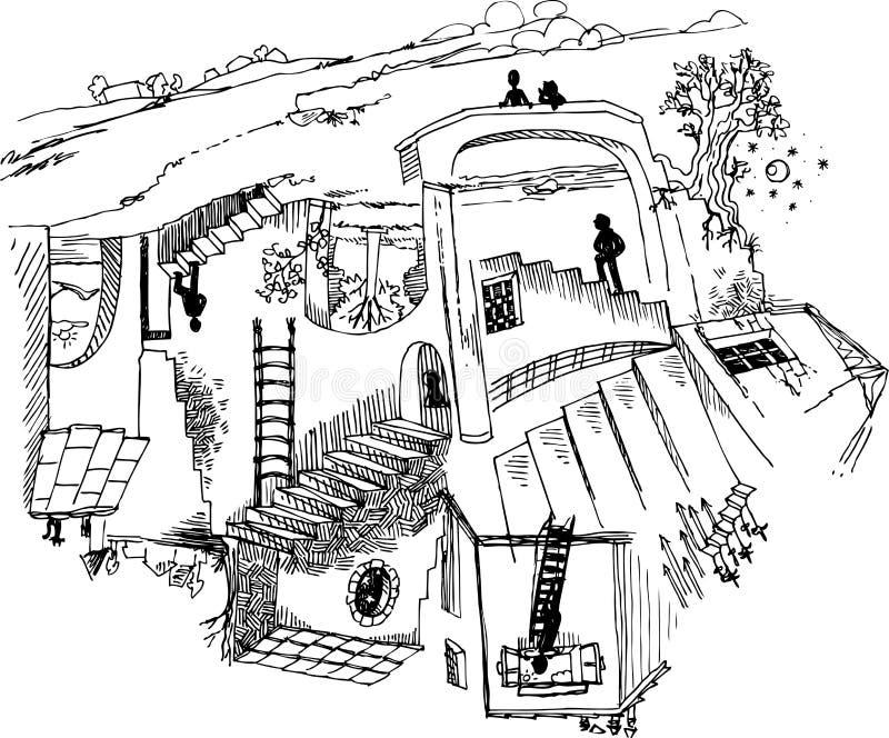 Escalera imposible ilustración del vector
