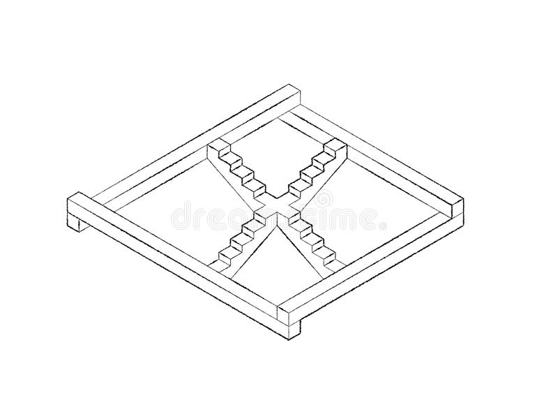 Escalera imposible Aislado en el fondo blanco Illust del bosquejo ilustración del vector