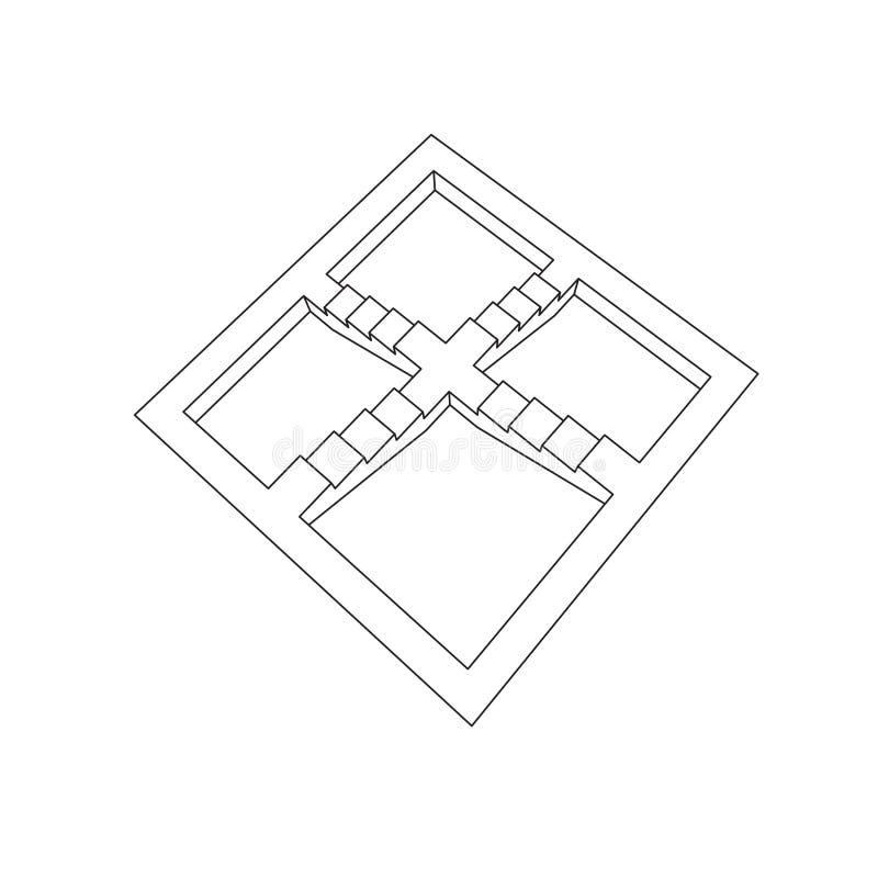 Escalera imposible Aislado en el fondo blanco Vector ilustración del vector