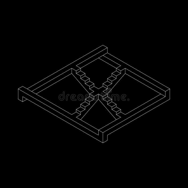 Escalera imposible Aislado en fondo negro Outli del vector ilustración del vector