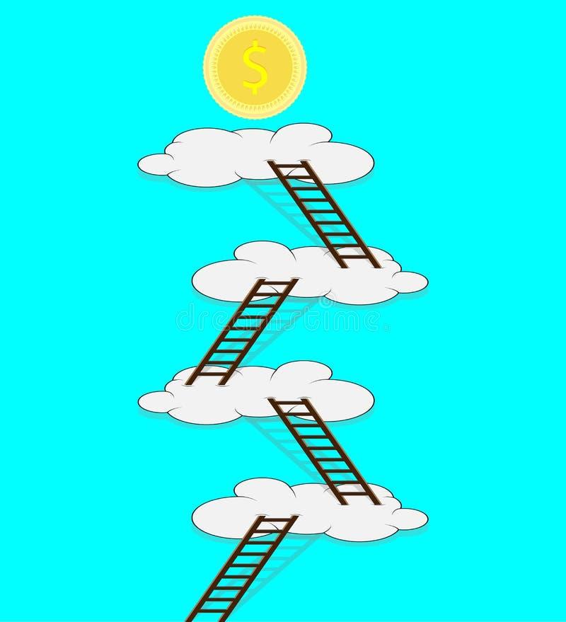 Escalera a la nube para el dinero stock de ilustración
