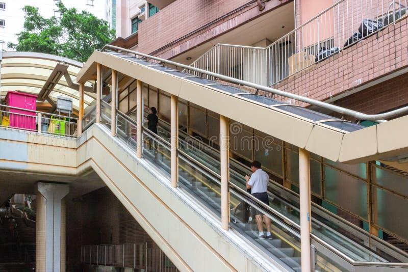 Escalera móvil de los Central-Mediados de-niveles en Hong Kong imágenes de archivo libres de regalías