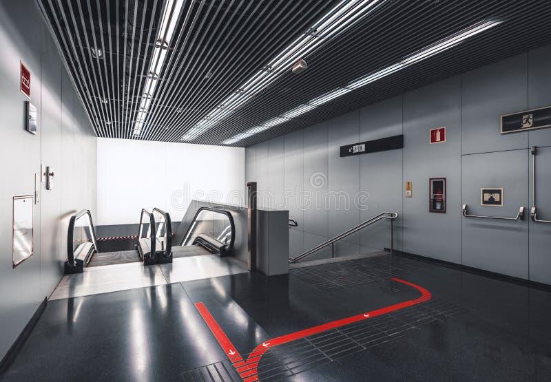 Escalera móvil interior moderna imagen de archivo