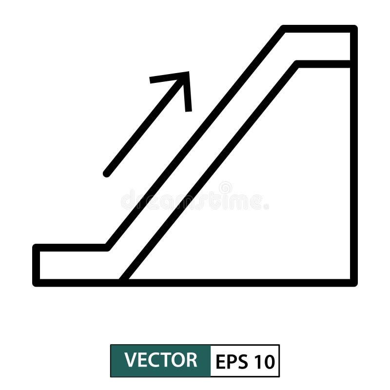 Escalera m?vil encima del icono l?nea estilo Aislado en el fondo blanco Ilustraci?n EPS 10 del vector stock de ilustración