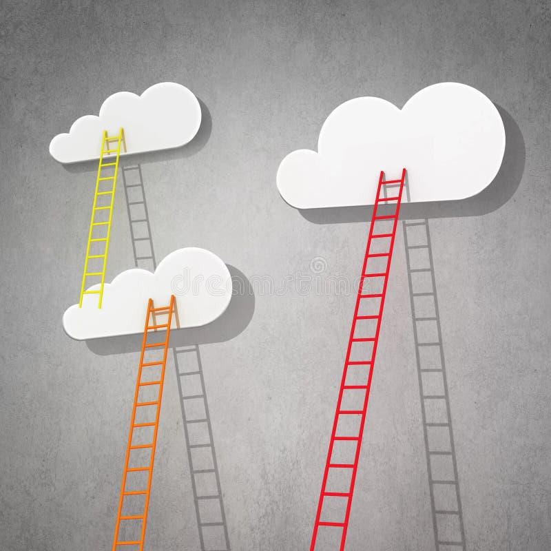 Escalera a nublarse en cielo ilustración del vector