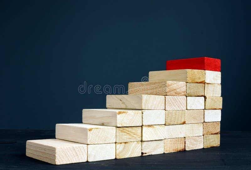 Escalera o trayectoria de la carrera Escaleras de madera como éxito del símbolo en negocio fotografía de archivo libre de regalías