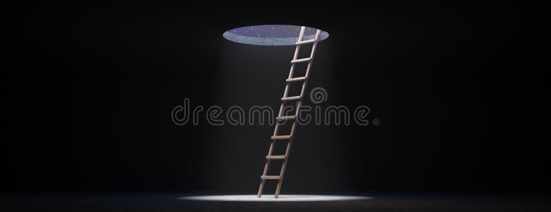 Escalera que conduce al cielo nocturno, Ladder al concepto de libertad 3d renderizado stock de ilustración