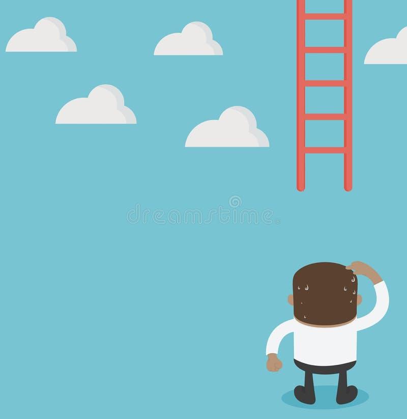 Escalera que falta del hombre de negocios africano que sube hacia arriba confuso stock de ilustración
