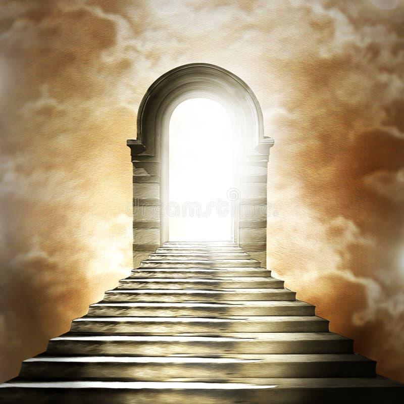 Escalera que lleva al cielo o al infierno. ilustración del vector