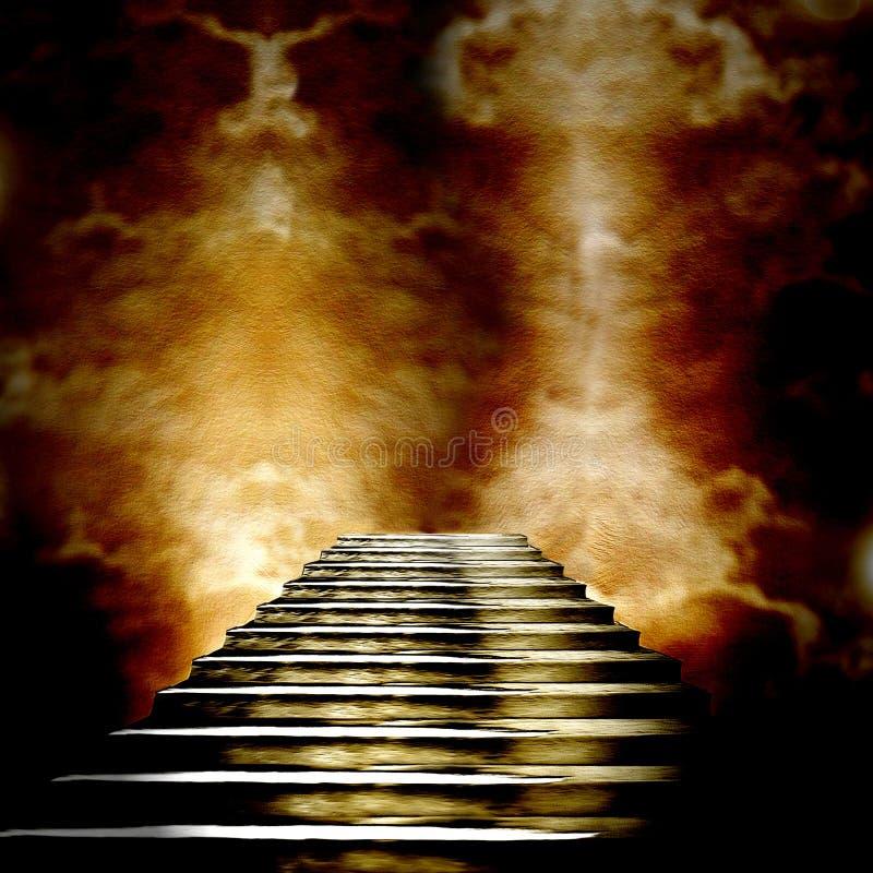 Escalera que lleva al cielo o al infierno libre illustration