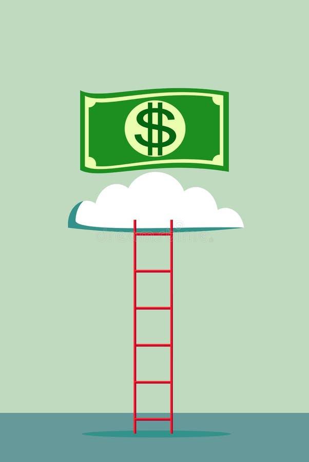 escalera a una nube del dinero libre illustration