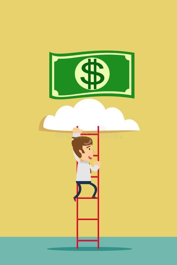 escalera a una nube del dinero ilustración del vector