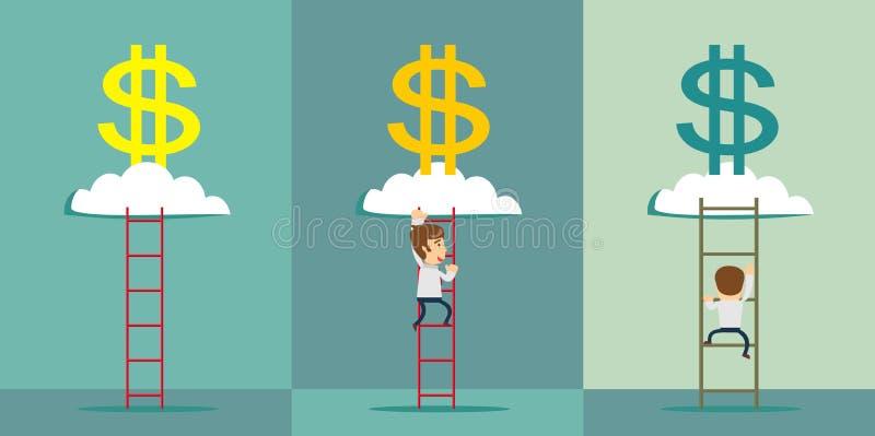 escalera a una nube del dinero Ilustración del vector libre illustration