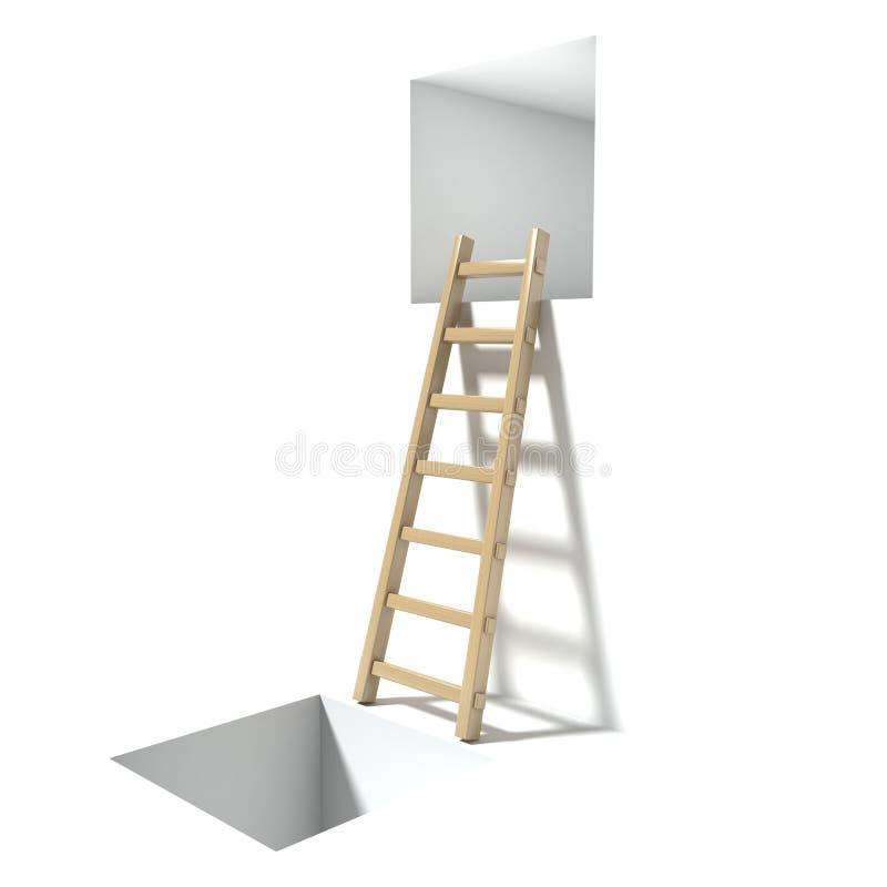 Escalera, ventana y agujero de madera Concepto abstracto de la desesperación 3d rinden libre illustration