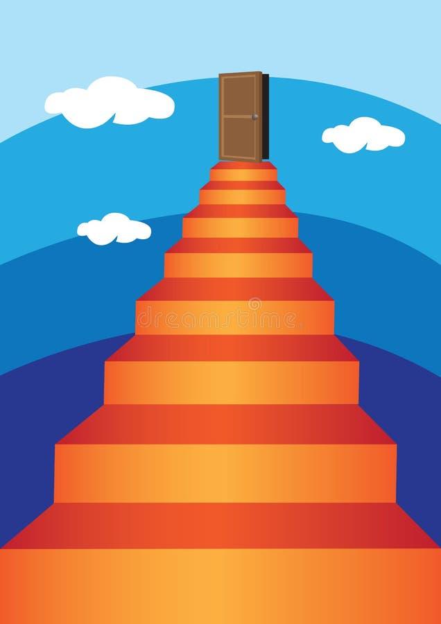 Escalera virtual en el cielo stock de ilustración