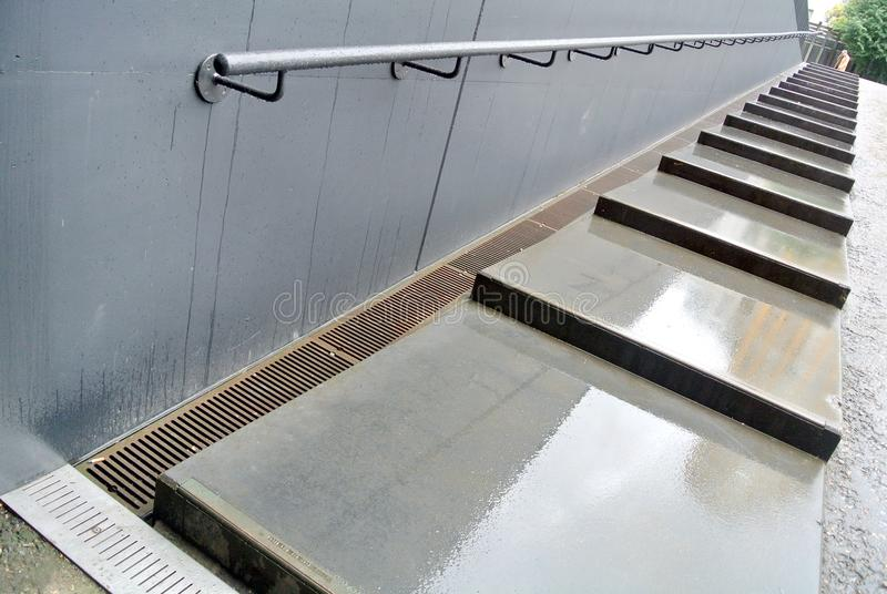 Escalera y barandilla externas fotografía de archivo