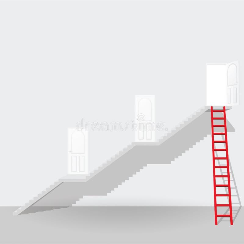Escalera y escalera rojas hasta el concep abierto del negocio del éxito de la puerta libre illustration