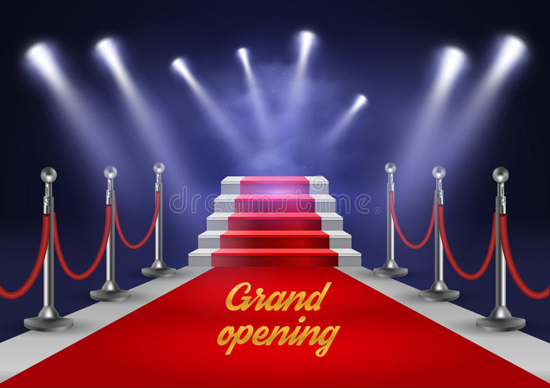 Escaleras blancas cubiertas con la alfombra roja e iluminadas por el ejemplo realista del vector del proyector stock de ilustración