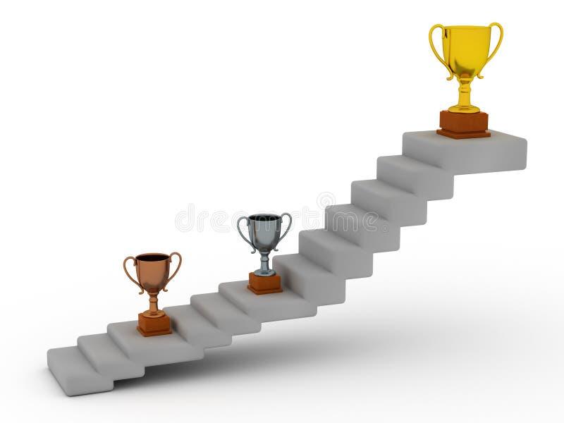 Trofeos y escaleras stock de ilustración