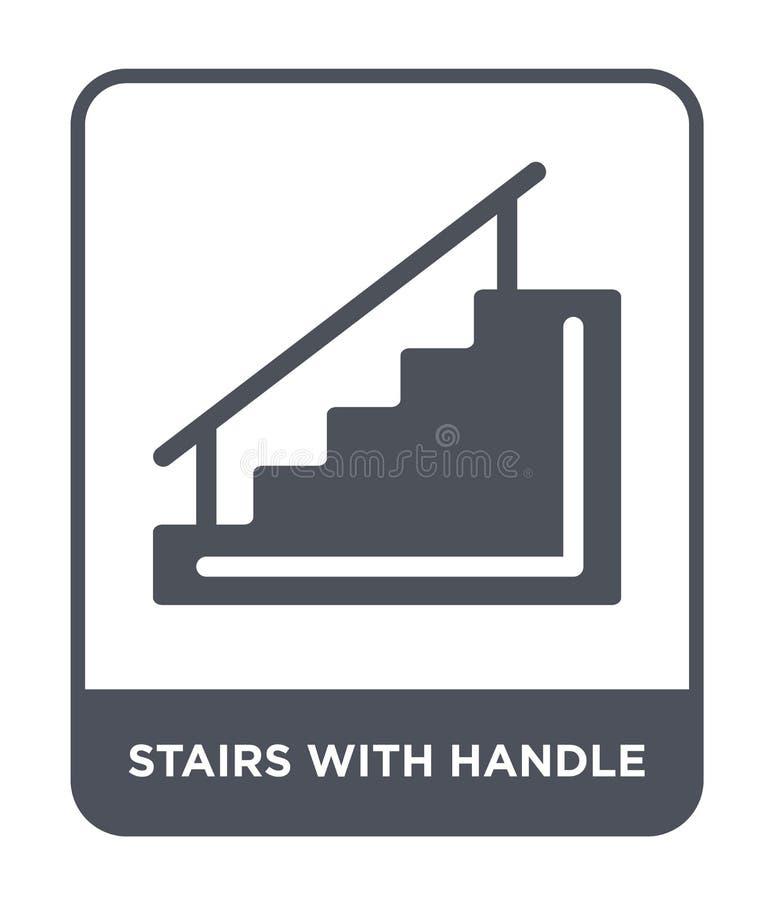escaleras con el icono de la manija en estilo de moda del diseño escaleras con el icono de la manija aislado en el fondo blanco e libre illustration