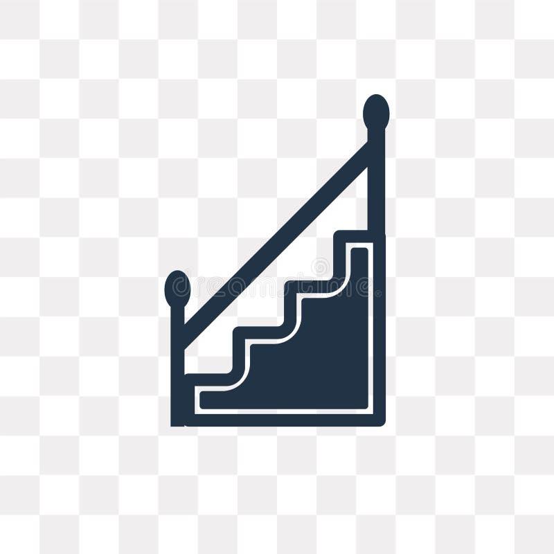Escaleras con el icono del vector de la manija aislado en backgroun transparente stock de ilustración