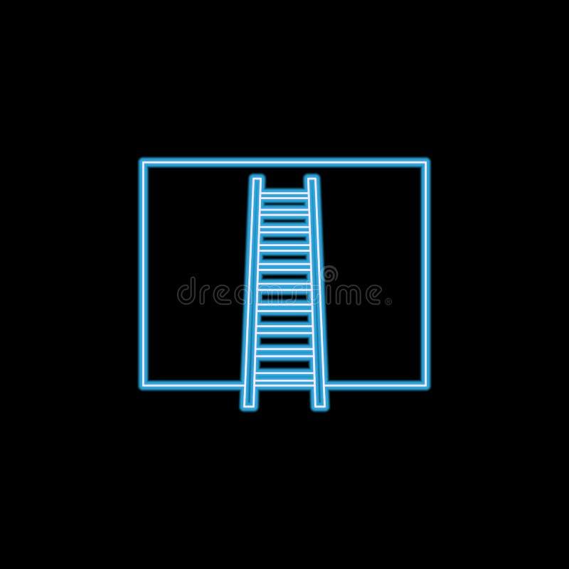 escaleras contra el icono de la pared en el estilo de neón Uno del icono de la colección de las escaleras se puede utilizar para  ilustración del vector