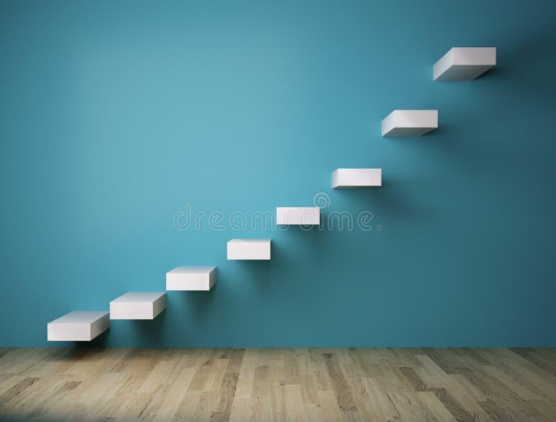escaleras 3D en la pared azul interior fotografía de archivo libre de regalías