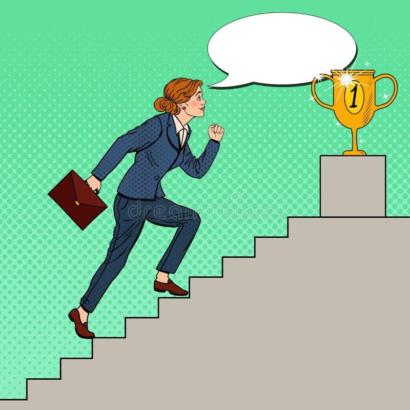 Escaleras de Art Business Woman Walking Up del estallido a la taza de oro stock de ilustración