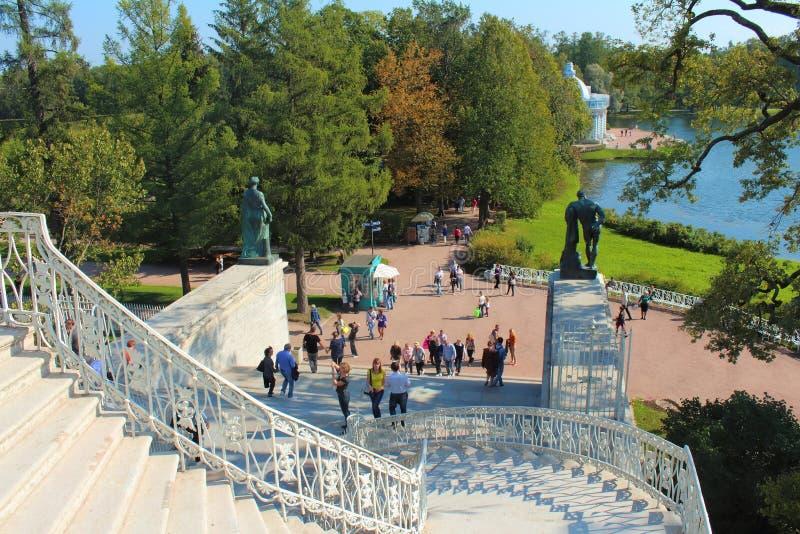 Escaleras de Cameron Gallery Catherine Park, Tsarskoye Selo imagen de archivo libre de regalías
