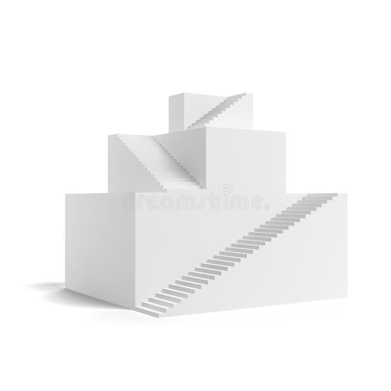 Escaleras de la jerarquía. Concepto de la pirámide stock de ilustración