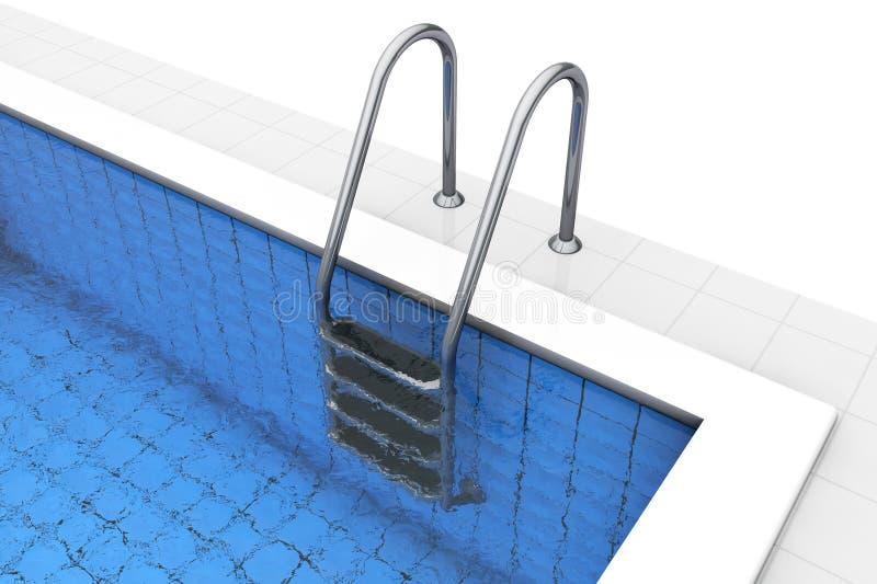 Escaleras de la piscina vacía stock de ilustración