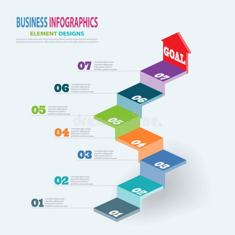 Escaleras de la plantilla 3D del negocio de Infographics con la flecha stock de ilustración