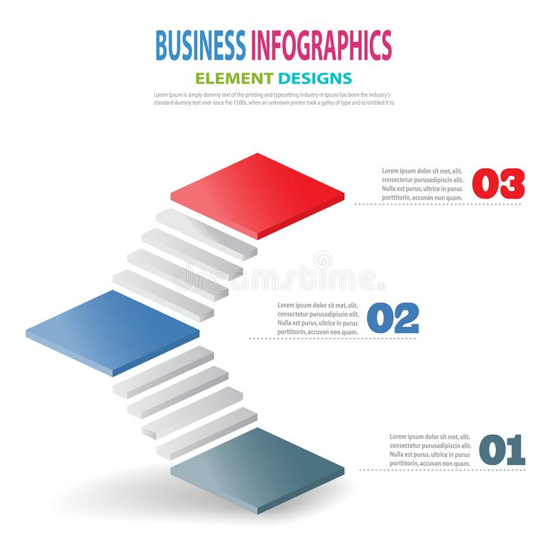 Escaleras de la plantilla 3D del negocio de Infographics con la flecha libre illustration