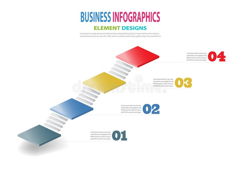 Escaleras de la plantilla 3D del negocio de Infographics para la presentación ilustración del vector