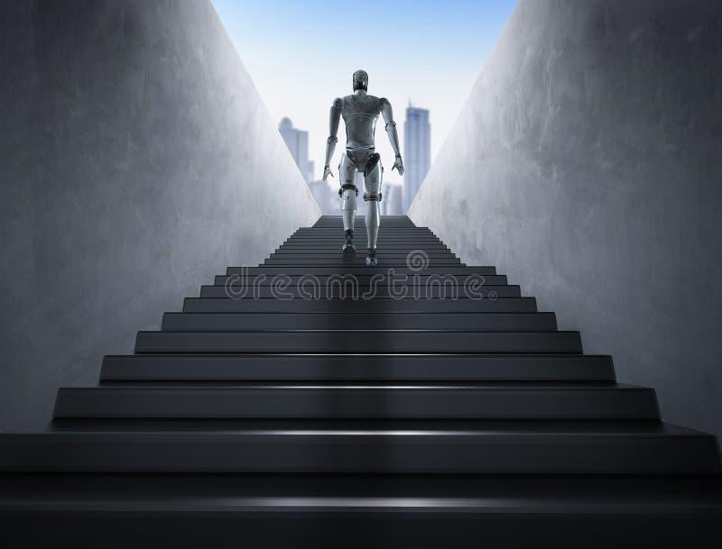 Escaleras de la subida del robot ilustración del vector