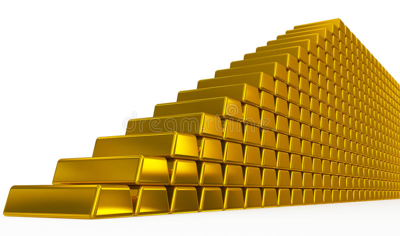 Escaleras de las barras de oro stock de ilustración