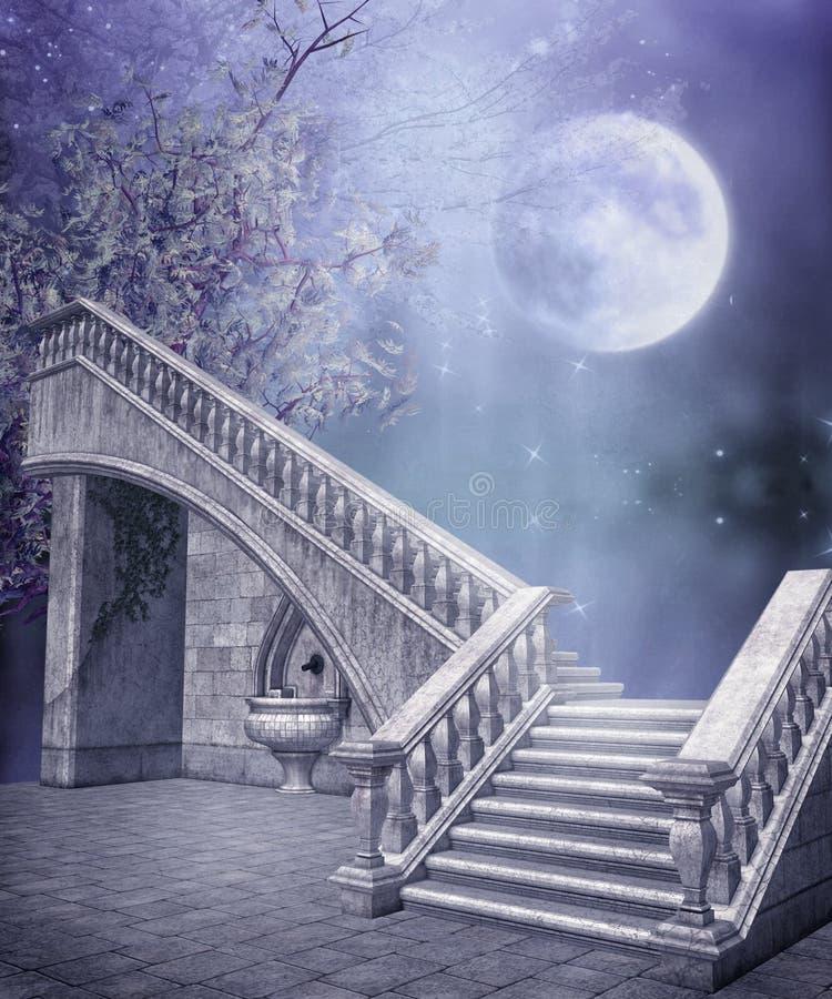 Escaleras de mármol de la fantasía ilustración del vector