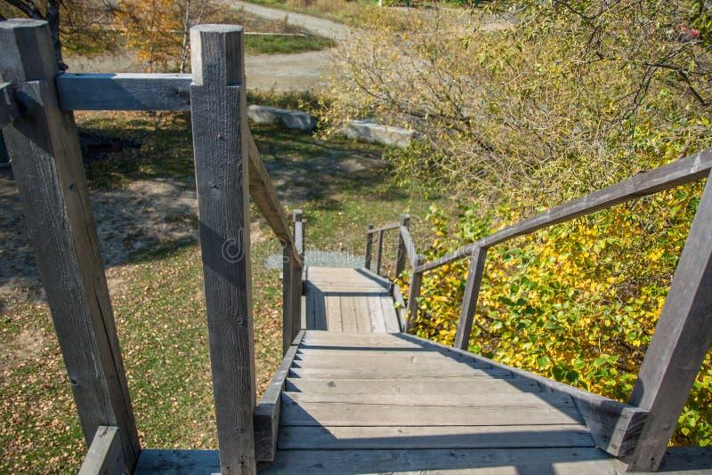 Escaleras De Madera Rústicas Que Llevan Abajo Imagen de archivo ...