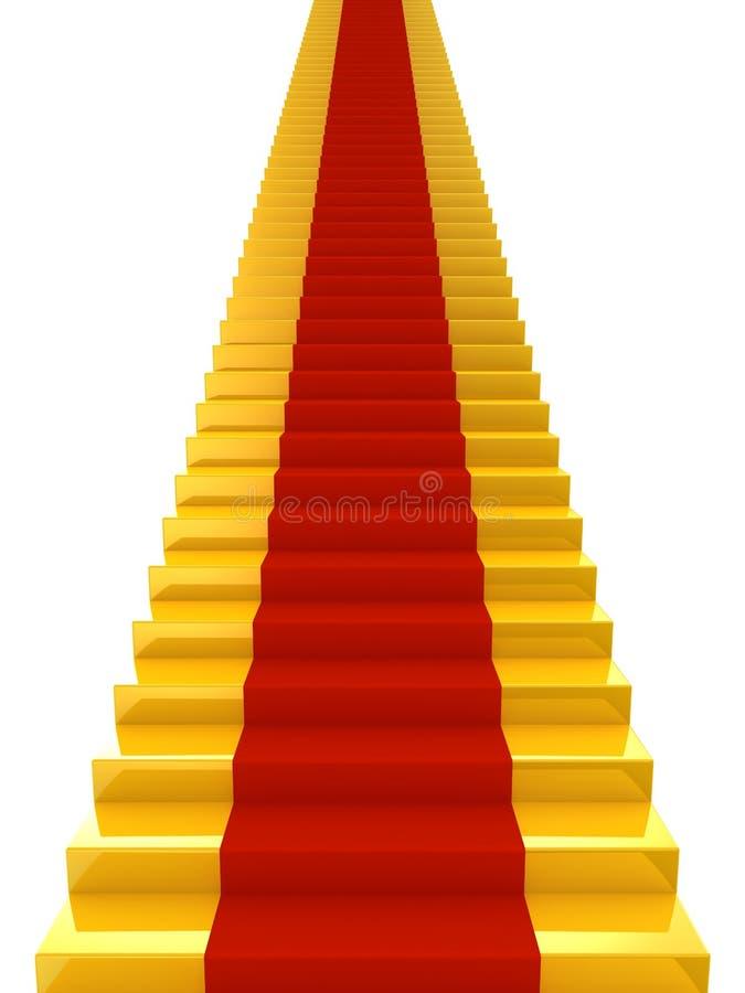 Escaleras de oro con la alfombra roja ilustración del vector