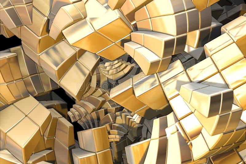 Escaleras de oro del fractal ilustración del vector